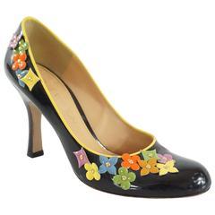 Louis Vuitton Black Patent Pumps with Multi Flowers - 36