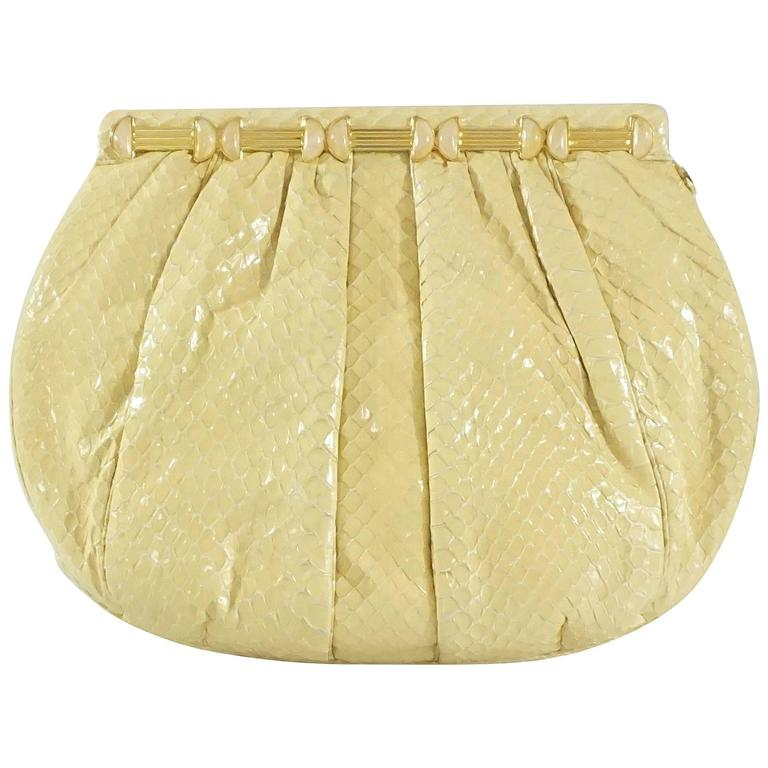 Judith Leiber Cream Snake Stone Evening Bag  For Sale