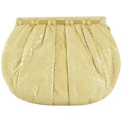 Judith Leiber Cream Snake Stone Evening Bag
