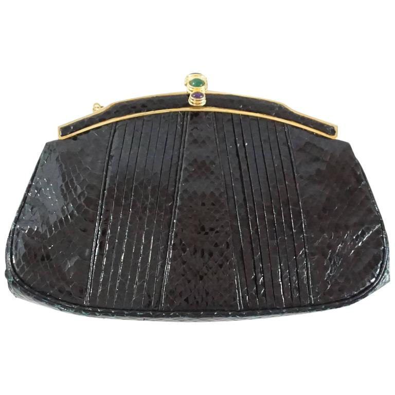 Judith Leiber Black Snake Frame Evening Bag  For Sale