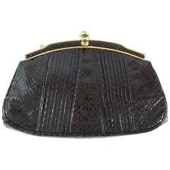 Judith Leiber Black Snake Frame Evening Bag