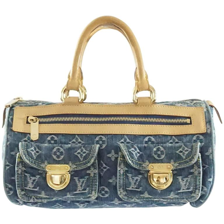 Louis Vuitton Denim Monogram Top Handle Bag 2005 For