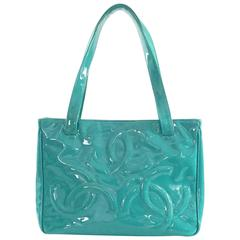 Chanel Teal Patent Mini Tote with CC Logo - 2004-2005