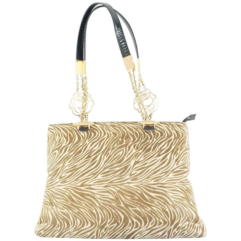 Versace Animal Print Pony Hair Shoulder Bag - Ghw slxBY5s9q
