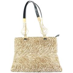 Versace Animal Print Pony Hair Shoulder Bag - GHW