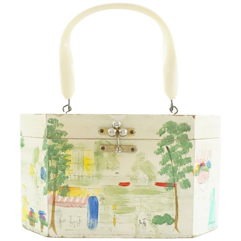 Vintage Ivory and Multi Hand Painted Wooden Handbag - 1950's