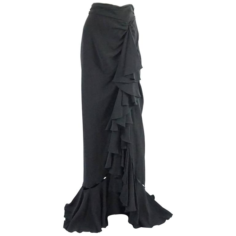 Naeem Khan Black Silk Long Ruffle Skirt with Cutouts - 12