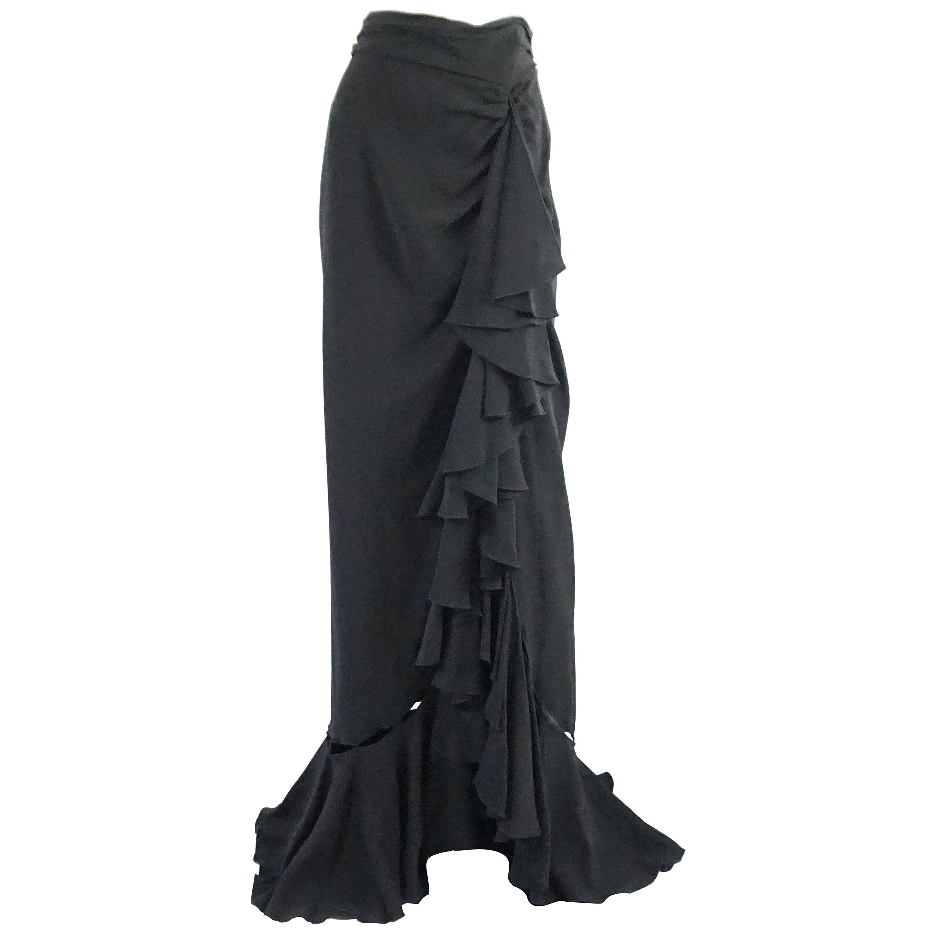 171f4b3b509 Naeem Khan Black Silk Long Ruffle Skirt with Cutouts - 12 For Sale at  1stdibs