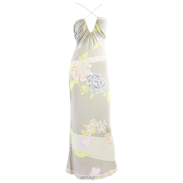 Leonard Taupe Floral Print Maxi Dress - 38