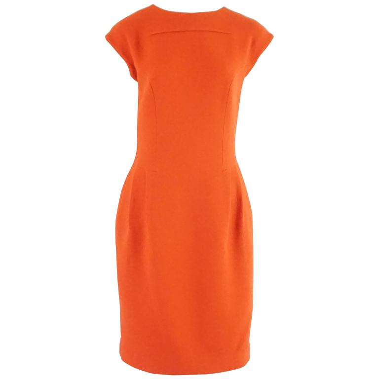 Giambattista Valli Burnt Orange Wool Dress - 44 For Sale
