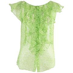 Oscar de la Renta Green Print Silk Chiffon Ruffle Top - 4