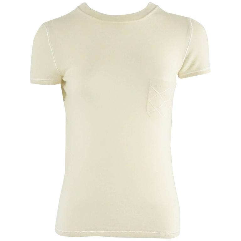 Chanel Ivory Cashmere Short Sleeve T-Shirt - 36