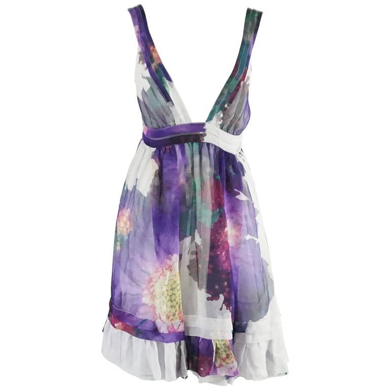 7d516708af Roberto Cavalli Purple Floral Print Silk Chiffon Dress - 40 For Sale