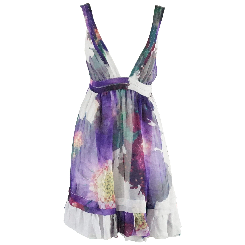Roberto Cavalli Purple Floral Print Silk Chiffon Dress - 40