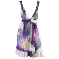 Roberto Cavalli Purple Floral Print Silk Chiffon Dress - 40