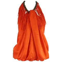 Lanvin Orange Silk Halter Top with Fringe - 38