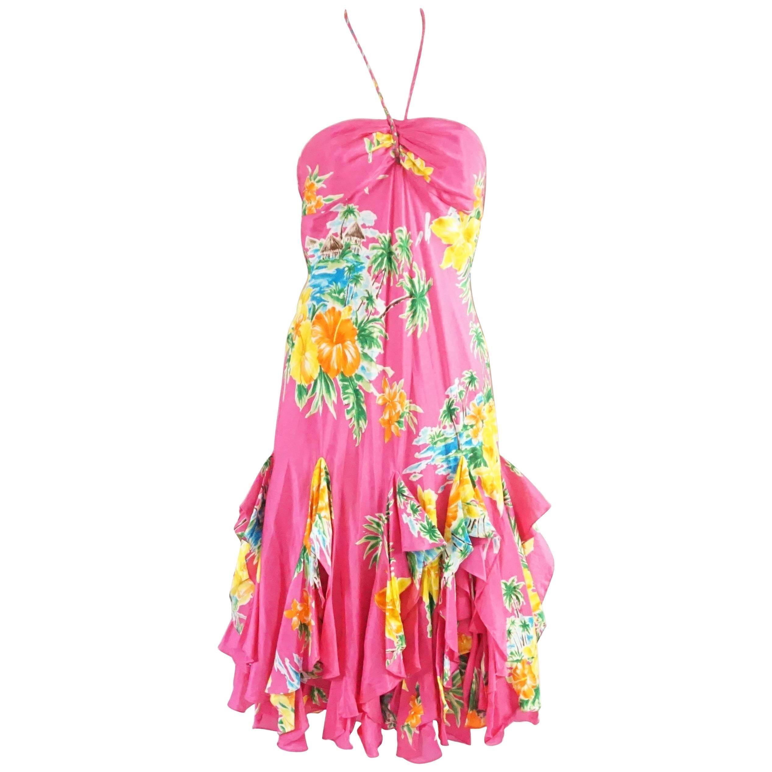Ralph Lauren Pink Tropical Print Ruffle Dress - 4
