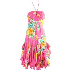 Ralph Lauren Pink Tropical Print Ruffle Dress - 4