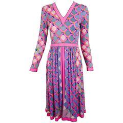 Vintage Alverado Bessi long sleeve silk knit print dress 1970s
