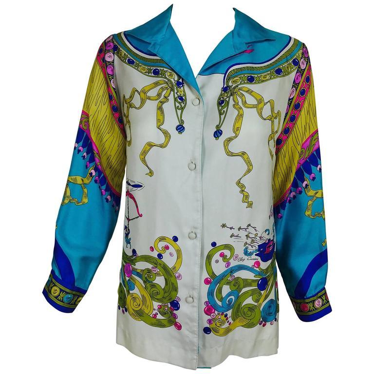 Vintage Oleg Cassini enchanting print silk blouse 1960s