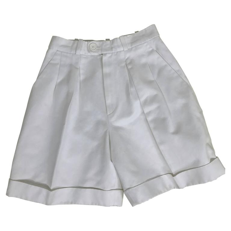 Vintage Yves Saint Laurent white cotton twill cuffed shorts 1970s