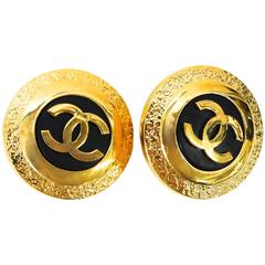 1980s Chanel Gold and Black Disc Earrings