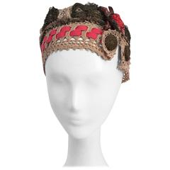 20s Juliet Cap w/ Brass Lace & Flower Side Detail