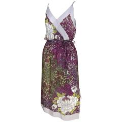 1970s Purple and Grey Floral Print Silk Summer Day Dress