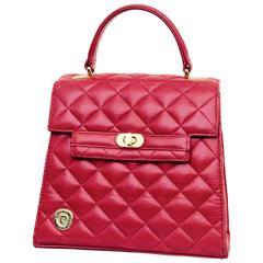Pierre Cardin Red Quilted Leather Top Handle Kelly Bag Purse Vintage 80s