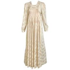 1970s Ossie Clark Ivory Silk Jacquard Maxi Dress