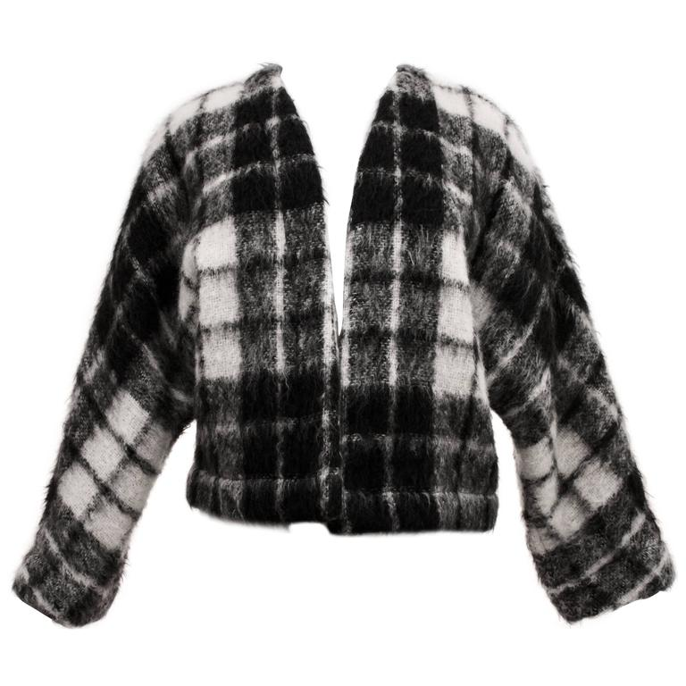 Vintage Bill Blass Black and White Plaid Mohair Jacket Size 8 1970s