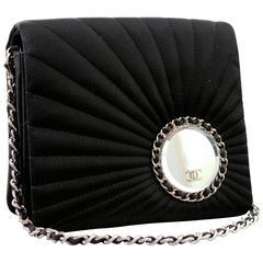 Chanel Evening Bag Black Stitched Silk Satin + Leather Chain Mirror Detail 2002