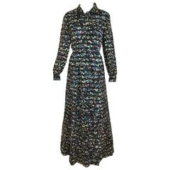 1970s Givenchy Black Silk Multi Color Floral Print Maxi Dress