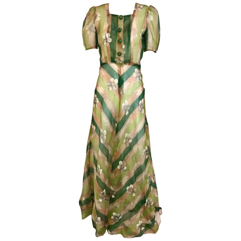 1930s Green floral print silk organza summer dress For Sale