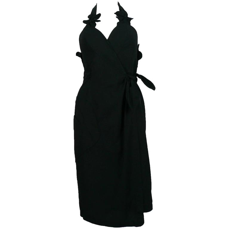 Thierry Mugler Vintage Black Halter Dress with Floral Detail