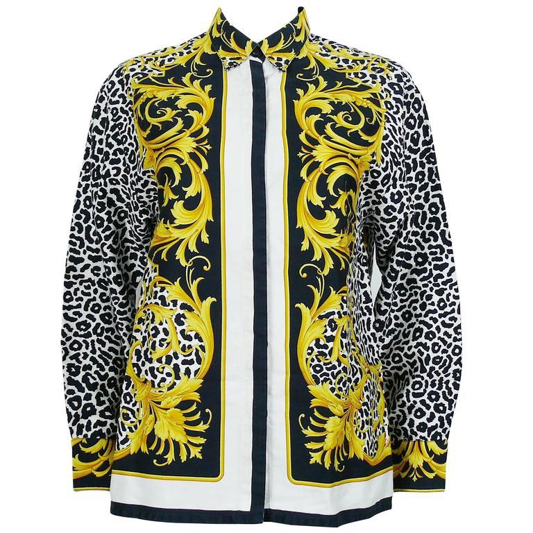 Versace Classic V2 Vintage Baroque Leopard Print Cotton Shirt Unisex Size 42