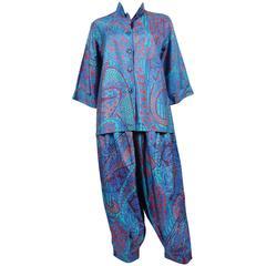 Yves Saint Laurent YSL Vintage Rare Oriental Paisley Harem Pants and Blouse Suit
