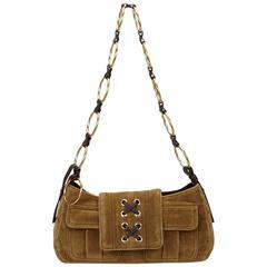 YSL Green Velour Chain Shoulder Bag