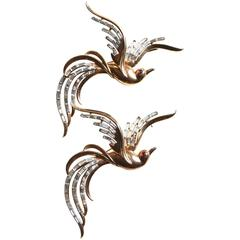 1950s Sterling Trifari Oversized Bird of Paradise Brooches