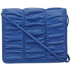 Valentino Blue Ruched Leather Shoulder Bag