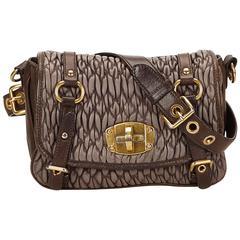 Miu Miu Brown Gathered Leather Shoulder Bag