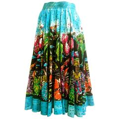 1950s Tropical Polynesian Hand Painted Cotton Skirt