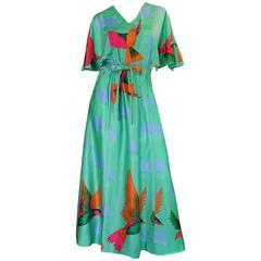1970s Hanae Mori Green & Tropical Bird Caftan Dress