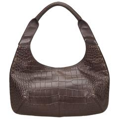 Ferragamo Brown Embossed Leather Shoulder Bag