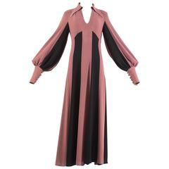 Alice Pollock 1970 moss crepe striped mauve and black evening dress