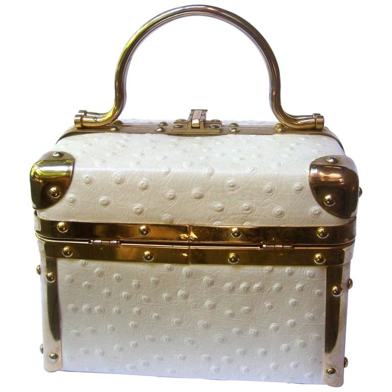 Borsa Bella Italian White Ostrich Leather Box Purse ca 1980s For Sale