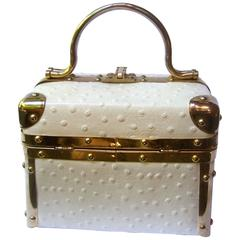 Borsa Bella Italian White Ostrich Leather Box Purse ca 1980s
