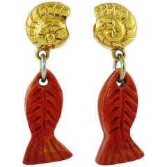 Yves Saint Laurent YSL Vintage Sea Life Dangling Earrings
