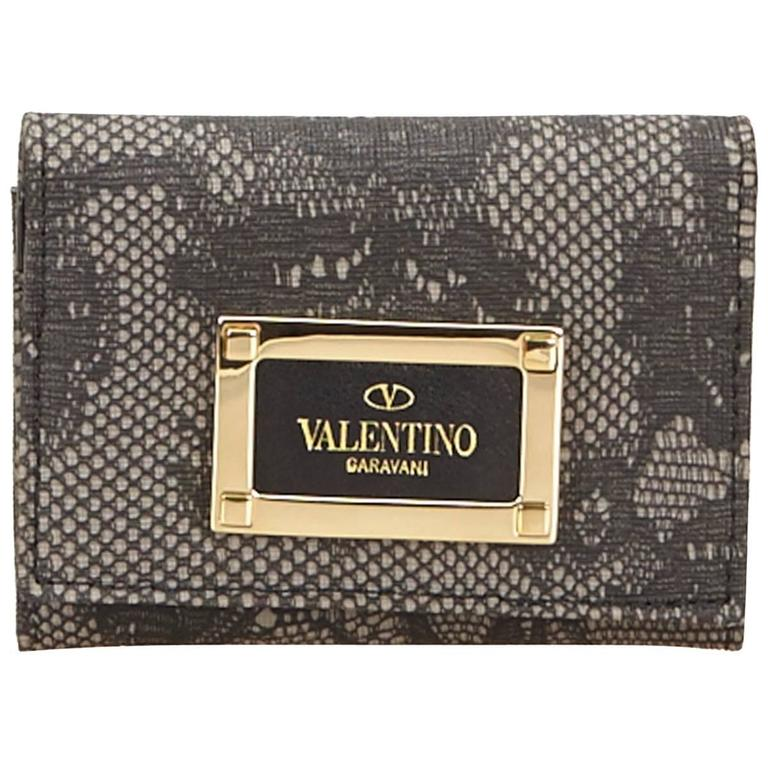 Valentino Gray Lace PVC Card Holder