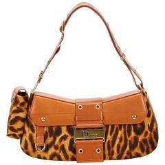 Dior Brown Leopard Ponyhair Shoulder Bag